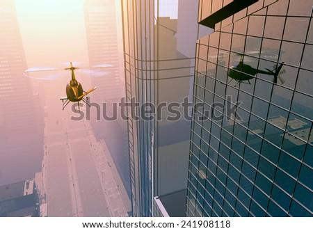 Modern aircraft on city background. - stock photo