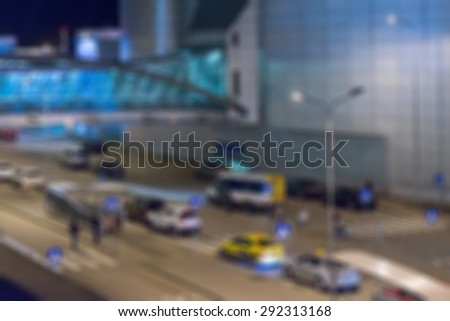 Modern airport at night abstract blur bokeh effect background