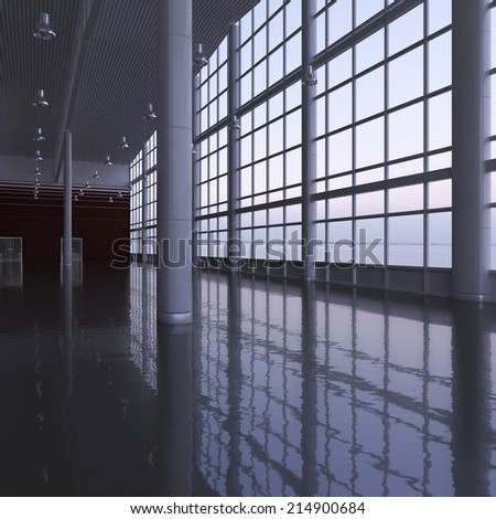 Modern airport passenger terminal. Empty hall interior with ceramic floor to ceiling windows and scenic background