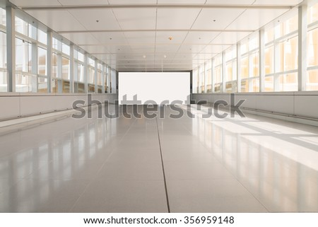 modern aisle and white blank billboard - stock photo