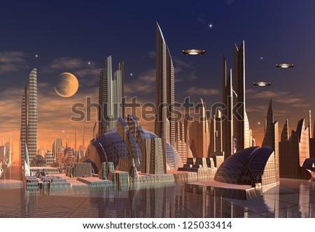 Modern Alien City - Computer Artwork - stock photo