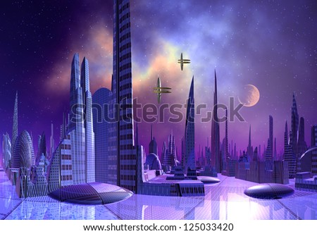 Modern Alien City - Computer Artwork - stock photo