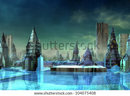 Modern Alien City with Skyscrapers - stock photo