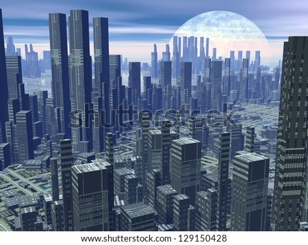 Modern alien futuristic city with lots of high buildings by hazy night with moon - stock photo