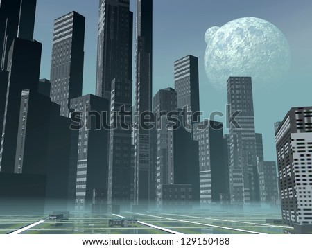 Modern alien futuristic city with lots of high buildings by hazy night with two moons - stock photo