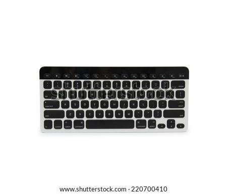 Modern aluminum computer keyboard isolated on white background - stock photo