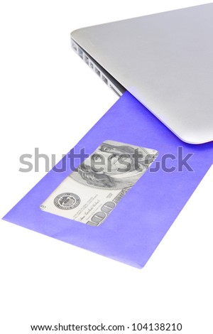 modern aluminum laptop received blue post envelope with money on white background - stock photo