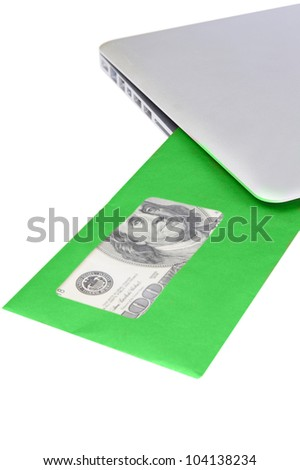 modern aluminum laptop received green post envelope with money on white background - stock photo