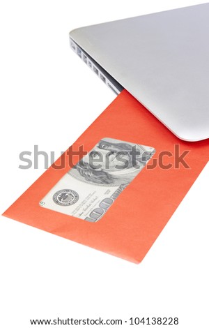 modern aluminum laptop received red post envelope with money on white background - stock photo