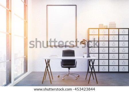 Modern and comfortable workplace at office. Big poster on wall. Large window. Good table. 3D render. Mock up. Toned image. - stock photo