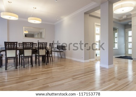 Modern and elegant dining room, new house - stock photo