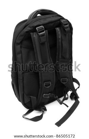 Modern and fashionable backpack on a white background - stock photo