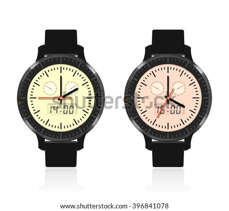 Modern and fashionable watch.  Set clock with the timer. A set of movements. Conceptual image of the clock. Time intervals. The length of time to perform business tasks. time clock - stock photo