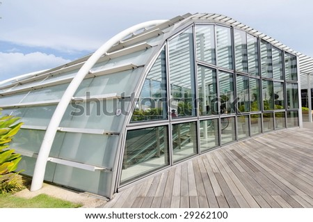 Modern and futuristic entrance and shelter - stock photo