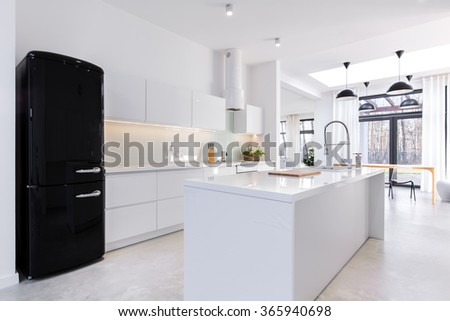 Modern and light kitchen in the house  - stock photo