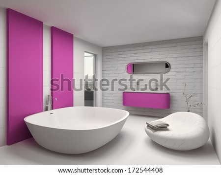 Modern and luxury bathroom interior with pink furniture - stock photo