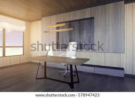 Modern and minimal interior of boss office, 3D rendering