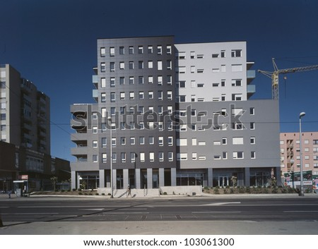 Modern and new apartment building - stock photo