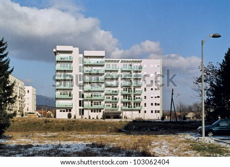 Modern and new apartment building in winter
