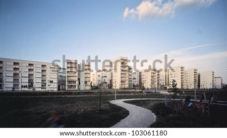 Modern and new apartment buildings - stock photo