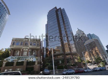 Modern and Old Buildings in Downtown Vancouver, Canada - stock photo