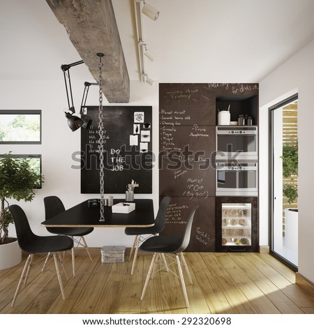 Modern and retro dining room interior (3 d render using 3 d s max) - stock photo