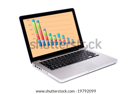 Modern and stylish laptop computer with business report, isolated on a white background