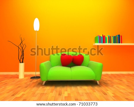 Modern and warm interior design. Two cushion are placed on the sofa and relying on each other.