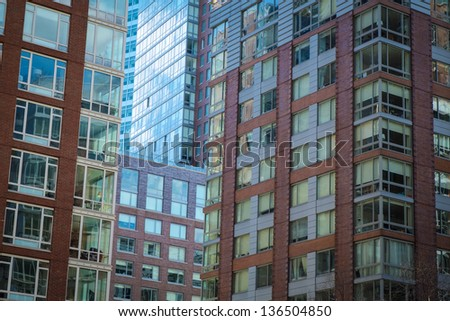 Modern apartment and office buildings in New York City - stock photo