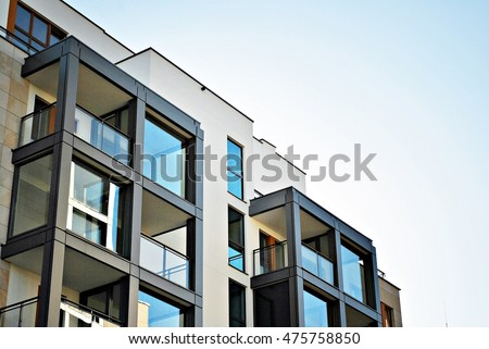 modern apartment building facade. Modern apartment building Luxury Apartment Building Stock Photo 703457332  Shutterstock