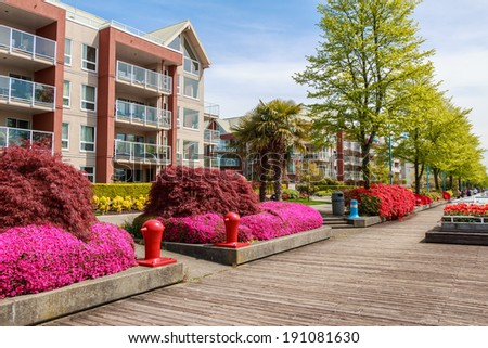 Modern apartment buildings in North America. - stock photo