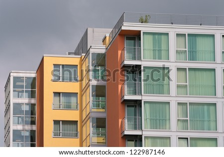 Contemporary Apartment Buildings modern apartment buildings media harbor dusseldorf stock photo