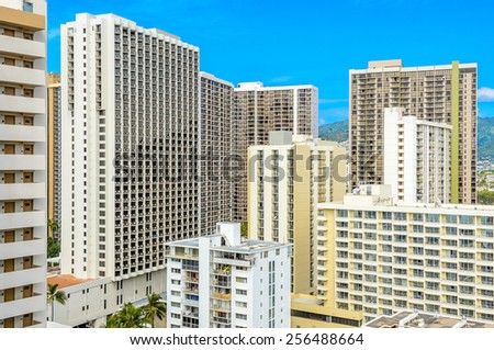 Modern apartment buildings with balcony. Hotel buildings. - stock photo