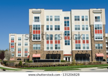 Modern apartment complex exterior - stock photo