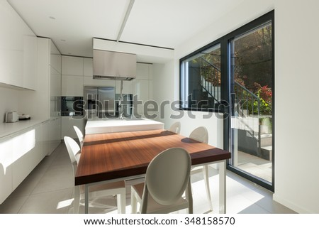 modern apartment, dining table in domestic kitchen, perspective view