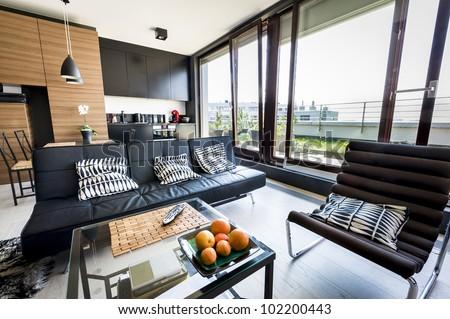 Modern Apartment Interior Design Panoramic Window Stock Photo