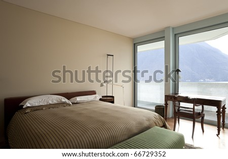 modern apartment interior view, bedroom - stock photo