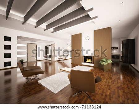 Modern apartment interior with fireplace and staircase living room hall 3d render - stock photo