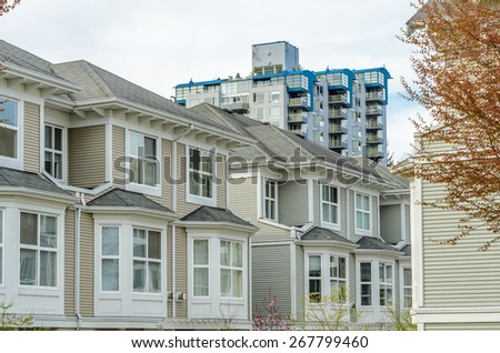 Modern apartment, townhouse buildings in Surrey, British Columbia, Canada. - stock photo