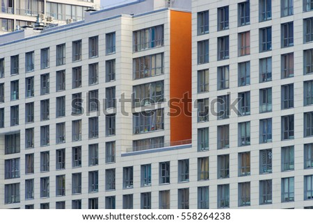 Modern apartments buildings exterior at summer day