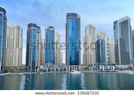 modern apartments in Dubai marina - stock photo