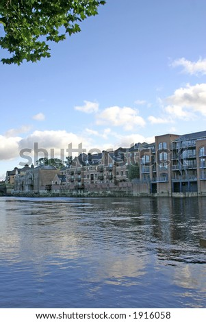 Modern Apartments on the River Ouse in York UK - stock photo