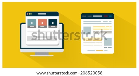 Modern app icon of browser business concept in flat design. Office and business work elements. Set for web and mobile applications of smartphone, browser, internet cloud. Raster version - stock photo