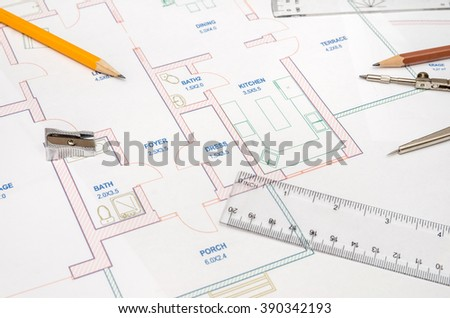 Modern Architectural Plan Pencil Ruler Compass Stock Photo 390342193