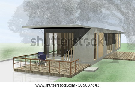 Modern Architecture among the nature. 3D rendered Illustration
