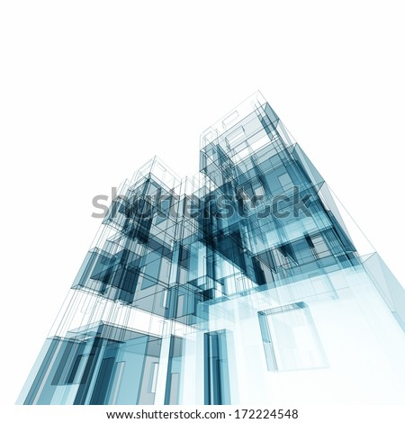 Modern architecture. Architecture design and 3d model my own - stock photo