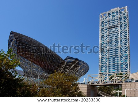 Modern architecture at Barcelona Olympic Port, Spain - stock photo