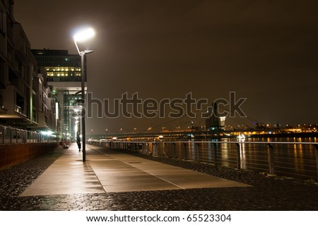 Modern architecture at night in Rheinauhafen area in Cologne, Germany