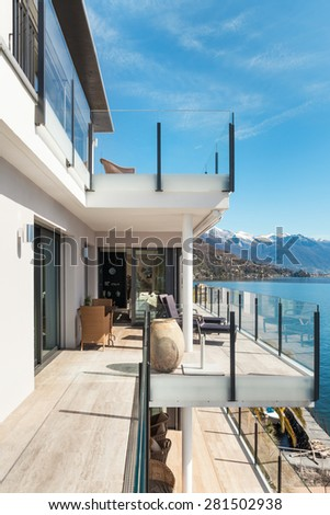modern architecture, beautiful modern penthouse, terrace - stock photo