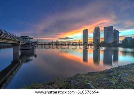 Modern Architecture during blue hour with beautiful view - stock photo